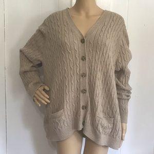 Land's End Beige Cardigan Sweater 2X